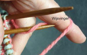 Naald in de driehoek middel- en wijsvinger en draad vanaf werkkant